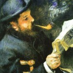 """Claude Monet Reading"" (1872) - Pierre-Auguste Renoir"