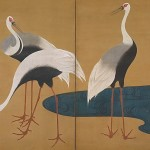 """Folding Screen with Cranes"" (1828) - Suzuki Kiitsu"